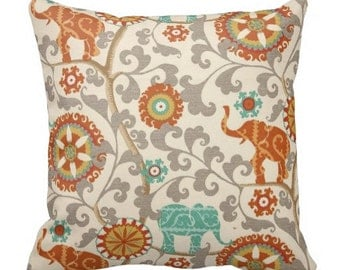 Outdoor Elephant Pillows,Outdoor Pillows, Blue Orange Outdoor Pillows,Throw Pillows, Orange Patio Pillows, Pillow Covers