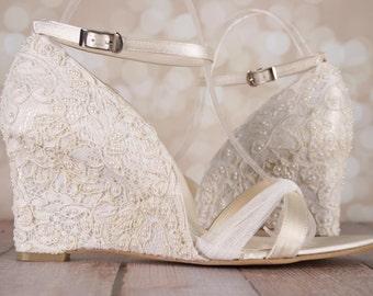 ivory wedding shoes lace wedding wedges ivory lace wedges lace wedding accessories