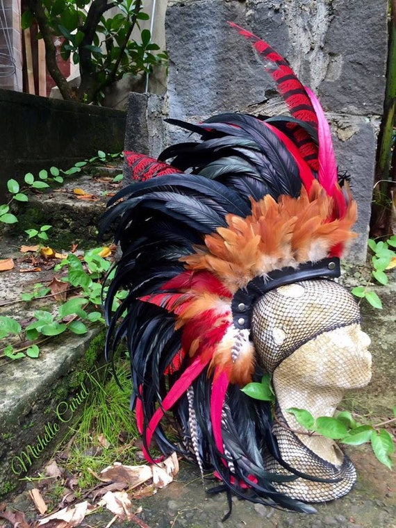 Red Fury  - Customizable Feather Mohawk / Headdress