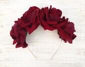 Large claret red rose flower crown - goth fairy - flowers - floral headband - sugar skull - flower girl - festival