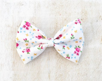 White with pink mini floral hair bow
