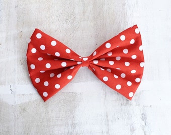 Red with white polka dot large hair bow on clip Rockabilly Pin Up