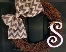 Grapevine Wreath with Gray Chevron Burlap and Monogram -Front Door Decoration-Wedding Decor