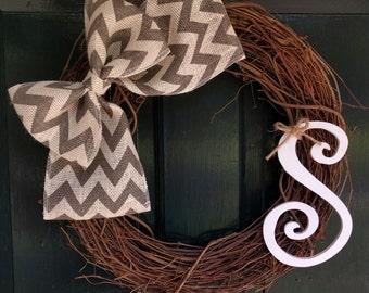 Grapevine Wreath with Gray Chevron Burlap and Monogram -Front Door Decoration-Wedding Decor