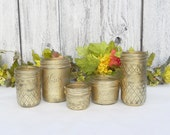 Shabby Chic Gold Mason Jars, Gold Metallic Jars for Tea Light Holders, Small Vases, Wedding Favors,