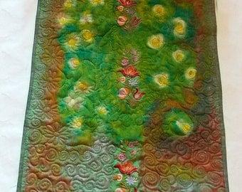 Ancient garden- wall art quilt, large wall hanging, landscape fiber art
