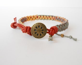 orange leather bracelet, hand knotted wrap bracelet, surfer boho wrap, leather macrame knotted cuff, boho chic jewellery, gift for her