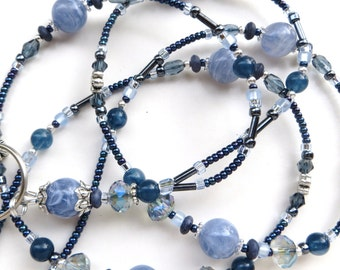 STEEL BLUE- Beaded ID Lanyard Badge Holder- Sparkling Crystals, Tibetan Silver Spacers, and Resin Beads (Magnetic Clasp or Comfort Created)