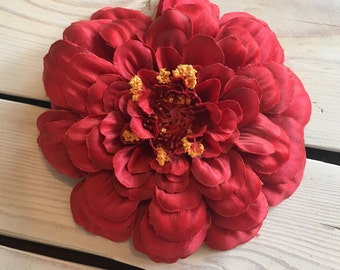Red Zinnia Silk Flower