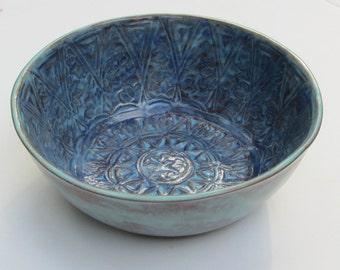 small ceramic bowl; hand carved ceramic bowl; ceramic cereal/salad bowl;