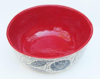 ceramic serving bowl; hand built pottery;ceramics and pottery