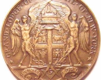 Masonic Half Century Grand Lodge NY Named Medal Ribbon Case Very Rare