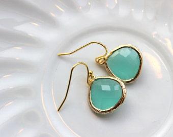 Gold Large Aqua Mint Earrings Blue Jewelry - Bridesmaid Earrings Wedding Earrings Bridesmaid Jewelry Gift Mint Wedding Jewelry