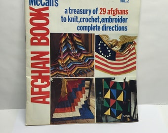 Afghan Knit Crochet Embroider How to Book McCalls 1960 Vintage