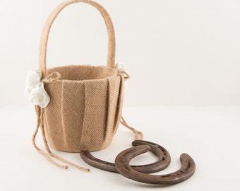 Sale! Satin & Burlap Wedding Bridal Flower Girl Basket