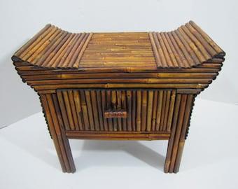 Bamboo Oriental Stool Table #011616