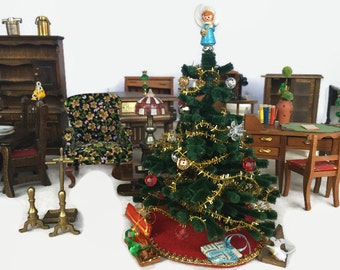 Vintage Doll House Furniture Minature Christmas Tree Collectibles Wood