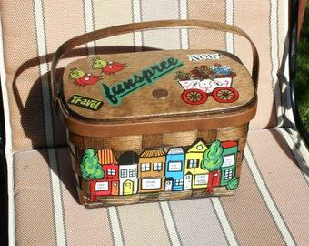 Vintage Wood Box Purse Basket Weave