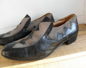 Sz 9 PADRINO Vintage Black & Gray Leather Shoes MEN