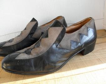 Sz 9 PADRINO Vintage Black & Gray Leather Shoes MEN