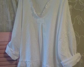 BoHo Clothing Bohemian Gypsy Linen Beach Shabby Ladies Wear Summer Retro Rustic Lagenlook French Hippie XXL Eco White Cotton Romantic Pearl