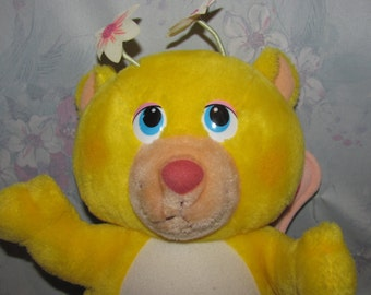 """Vintage Hasbro Wuzzles Butterbear - Plush Butterfly Bear - 12"""" Tall - Yellow Bear with Butterfly Wings, Flower Antenna"""