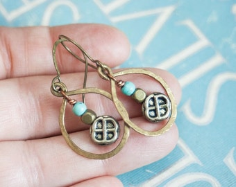 SALE Celtic Mixed Metal Earrings with Turquoise Celtic Knot Earrings Boho Style Copper and Brass Earrings