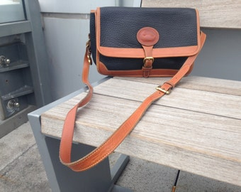 Dooney & Bourke Vintage Large Surrey Navy and Tan All Weather Leather Purse