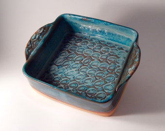 Handmade Square  Ceramic Casserole with handles in Teal