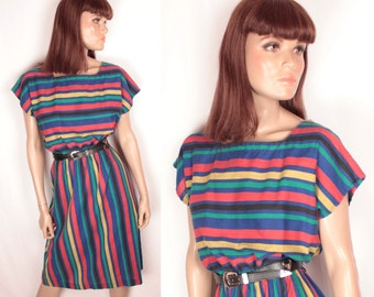 1980s striped dress // dolman sleeve