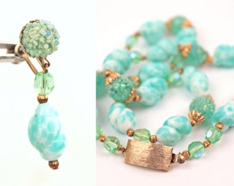 vintage necklace and earrings set // sea foam green