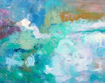 Small abstract original oil painting emotional raw wall art green blue pink