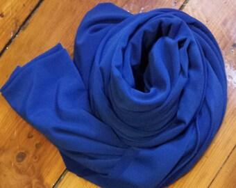 Heavy Jersey Stretch BLUE hijab scarf turban wrap fabric - FREE US Shipping