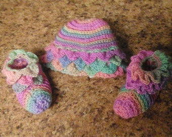 Rainbow hat and booties 3 to 6 month