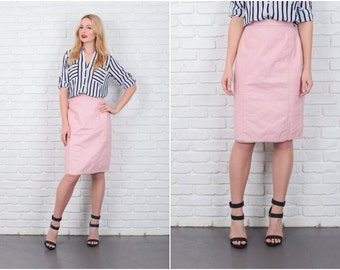 Vintage 80s Pink Leather Skirt Straight Pencil High Waist Retro Xs Small S 6267 vintage skirt pink skirt pencil skirt high waist skirt