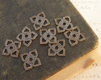 Brass Ox Small Open Square 4 Petal Connector Findings 11x11mm (8)