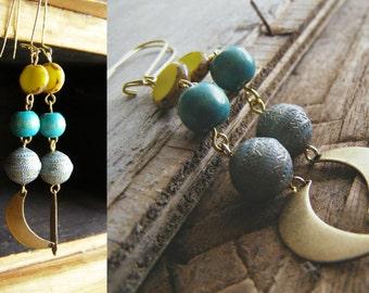 Moon Sun Beaded Drop Earrings, Boho Tribal Long Yellow Turquoise Earrings, Crescent Moon Dangle Earrings, Hippie Fashion Statement jewelry