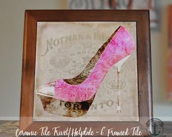 "Trivet Hot Plate: Pink Stiletto | 6"" Ceramic Tile Trivet Kitchen Accessory|Choose tile, tile with barnwood stand or mahogany frame trivet"