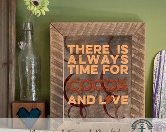 Cocoa and Love - Framed Print in Reclaimed Barnwood Bar and Kitchen Style - Handmade Ready to Hang | Size & Price via Dropdown