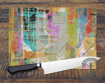 Glass Cutting Board - New York City Subway Grid Hometown Decor | Small or Large Kitchen Art for Your Countertop.