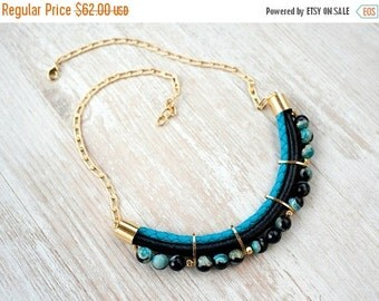 SPRING SALE Meteorites Statement  Black & Turquoise colors Agate Necklace by Pardes