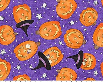 Pumpkins on Purple from Northcott Fabric's Happy Halloween Collection