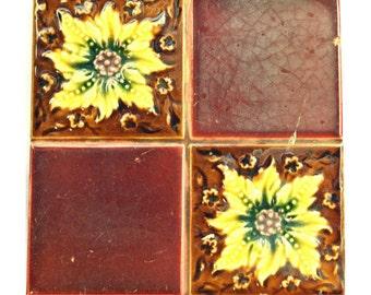 Red floral tile Set