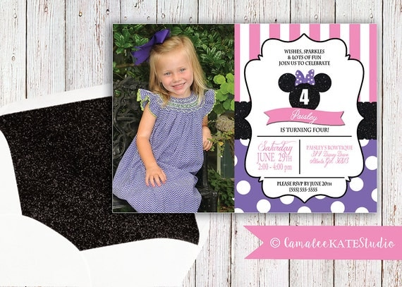 Printable Minnie Mouse Bowtique Birthday Invitation digital – Toddler Girl Birthday Invitations