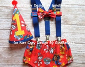 Paw Patrol Birthday cake smash outfit costume suspenders Marshall fireman Rubble diaper cover Bow tie Birthday Hat 12 18 24 toddler