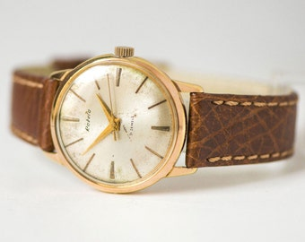 Gold plated AU 20 men's watch Rocket, shockproof men's watch mechanical, gent's watch minimalist shabby face, new premium leather strap