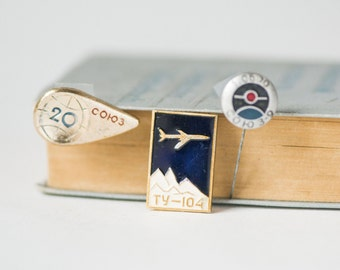 Soviet airliner Tu 104 pin, USSR space pins, set 3 vintage flights badges rare, Soyuz 3 Soyuz 9 spaceflight mission,Soyuz 20 spacecraft pin