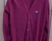 Vintage Men's IZOD Lacoste Maroon Burgandy Cardigan Sweater Preppy Size M