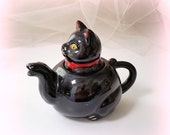 HEART SALE Kitty Teapot - Vintage Teapot - Black Cat Teapot - One Cupper - Made in JAPAN