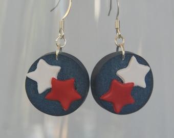 4th of July Wine Cork Earrings